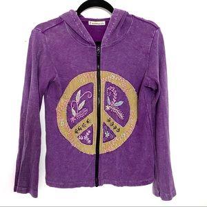 Boho Purple Peace Embroidered Distressed Hoodie M